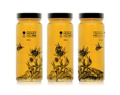 Love the simplicity of label and artwork. Like how it allows the color of the honey to really shine through.