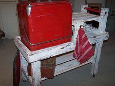 Beverage cart with vintage cooler