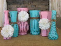 VasesHand Painted Flower Vases upcycled by TheShabbyChicWedding, $52.00