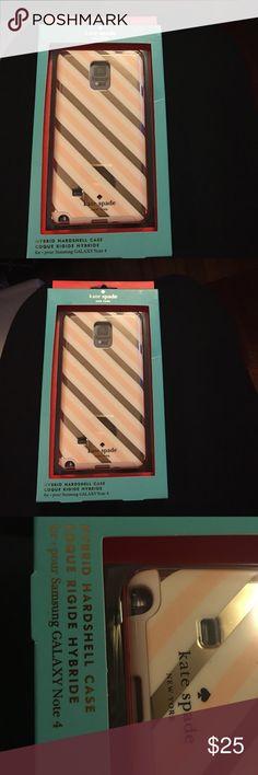 Kate Spade HardShell Case Samsung Note 4 Samsung Galaxy Note 4 Hybrid Coque Ridge Case., Brand New. Pink/White/Gold Stripe.💕🌸🌺 kate spade Accessories Phone Cases