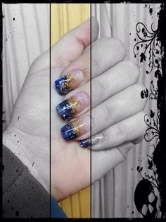 Blue and Gold Acrylic Glitter Nails {Exotic Nails}