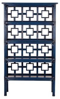 This stunning Chinoiserie-inspired étagére is the perfect stylish storage piece to add to any living room!