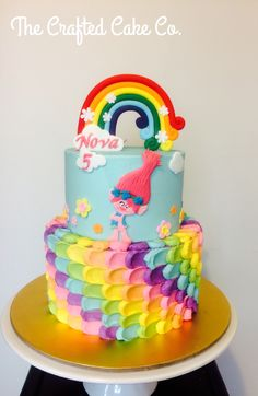 Trolls Birthday Cake. Poppy, rainbow by The Crafted Cake Co.