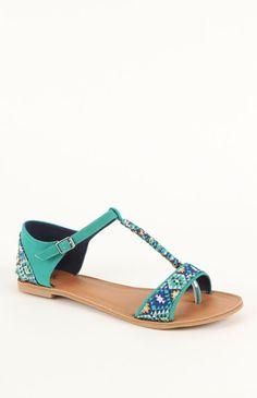 Black Poppy Printed T Strap Sandals #pacsun