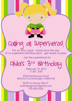 Super Hero Super Girl Supergirl Birthday Party by SwishDesigns, $15.00