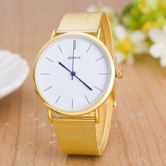 16b536eccd2c Relogio Feminino luksusowa marka Genewa Zegarek Moda stal nierdzewna  Srebrny zegarek Mężczyźni Casual Zegarki kwarcowe Ultracienki