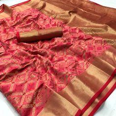 Peach Patola saree jequard saree banarasi saree saree blouse saree for women sarees sari silk saree yellow saree gift her saris Art Silk Sarees, Banarasi Sarees, Lehenga, Kurti, Saris, Sari Bluse, Sabyasachi Bride, Yellow Saree, Red Saree