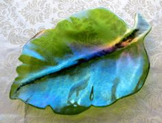 Fused Glass Large Leaf Bowl in Iridescent Light by MagpieAndSquid