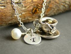 Personalized Tea Cup Pendant Initial by ShinyLittleBlessings, $29.00