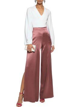 Shop on-sale Nelle split-side silk-satin wide-leg pants. Browse other discount designer Wide Leg Pants & more luxury fashion pieces at THE OUTNET Silk Pants Outfit, Chic Outfits, Dress Outfits, Fashion Pants, Fashion Outfits, Frack, Pantalon Large, Fashion 2020, Luxury Fashion