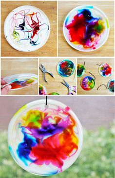food art for kids crafts Suncatcher craft for kids made from glue, food coloring, and recycled plastic lids BABBLE DABBLE DO Easy Crafts For Kids, Summer Crafts, Toddler Crafts, Crafts To Do, Projects For Kids, Diy For Kids, Art Projects, Arts And Crafts, Children Crafts