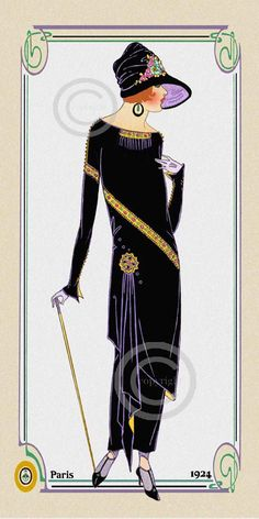 This is a Art Deco Paris Fashion Print. Showing a showing a elegant flapper lady dressed in a black velvet long dress. She is wearing a