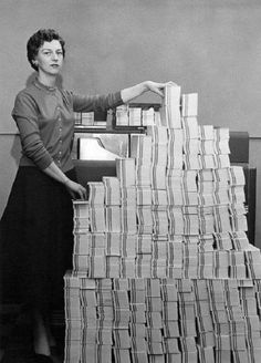 4.5 megabytes of data in 62,500 punched cards, USA, 1955