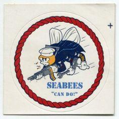 Vintage Navy SEABEES Sticker: Rope Border Illustration
