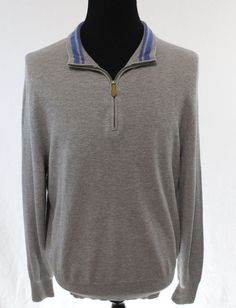 NEW BROOKS BROTHERS Half Zip Sweater Mens Large Cotton Silk Cashmere Long Sleeve…