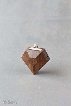 Modern faceted diamond shaped engagement ring box – unique and original idea, beautiful ring display that hides the ring inside till that special moment and reveals it in very subtle way. The box will Diamond Shaped Engagement Ring, Engagement Box, Engagement Ring Shapes, Wooden Ring Box, Wooden Boxes, Proposal Ring Box, Ring Displays, Wedding Ring Box, Wood Rings