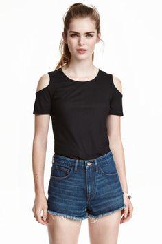 Fine-knit top - Black - Ladies | H&M GB 1