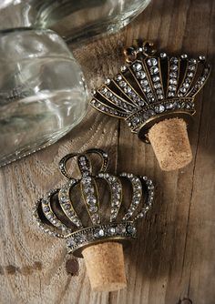 Wedding Cake Topper potential!  Diamond Crown Top Bottles
