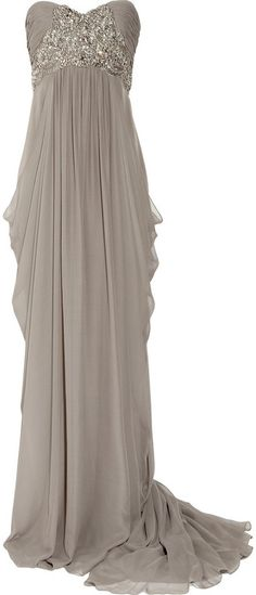 MARCHESA - Silk-crepe Strapless Gown