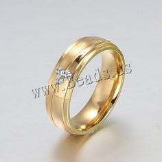 Rhinestone Stainless Steel Finger Ring, gold color plated, different size for choice & with rhinestone, 6mm, 3PCs/Lot,china wholesale jewelry beads