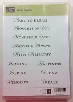Stampin' Up! LOVING THOUGHTS Clear Rubber Stamp Create Memories Sympathy NEW #StampinUp #Background