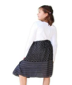 Black and white polka dot long skirt Age 7 by QuickFashionSkirts, $31.00