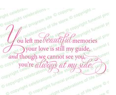Funeral Poems : Beautiful Memories Poem (Colors Available)