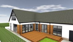 Mixture of brick and render could be the better option for us. keeping some of the brick would save having to render or clad the back of the house. Bungalow Extension Plans, House Extension Design, House Design, Extension Ideas, Roof Extension, Garage Design, Bungalow Exterior, Bungalow Renovation, Bungalow Extensions