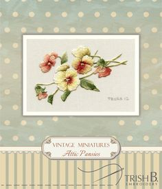 Digital Download Miniature Attic Pansies by TRISHBEMBROIDERY, $10.00