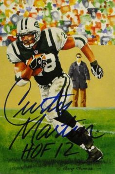 Curtis Martin Autographed New York Jets Goal Line Art Card With HOF- JSA W  Auth b4f466423