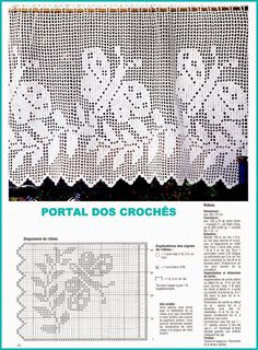 Filet Crochet, Crochet Motifs, Crochet Stitches, Knit Crochet, Crochet Patterns, Crochet Curtain Pattern, Crochet Curtains, Curtain Patterns, Crochet Home