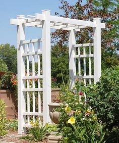Dura-Trel Create an organized entry to your yard or garden with the Dura-Trel Windsor Arbor. The detailed geometric design and flat top of this unit add a conte