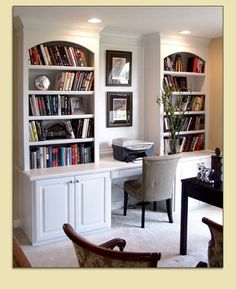 Custom Built In Bookshelves With Desk Area For Computer Home Office The Dining Room Hide All Work When You Have Company