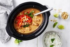 Skip the Chinese takeaway because this satay pork curry is so easy to make at home. Cooked in the slow cooker with just 15 minutes of meal prep, the sauce is super creamy thanks to the coconut milk and peanut butter. Best Slow Cooker, Slow Cooker Chicken, Slow Cooker Recipes, Crockpot Recipes, Cooking Recipes, Best Pork Recipe, Pork Recipes, Healthy Recipes, Cabbage Recipes
