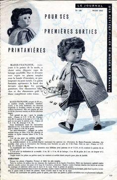 ❤ Page originale, Poupée Marie Françoise MODES ET TRAVAUX, mars 1963 ❤ : 1,99 EUR