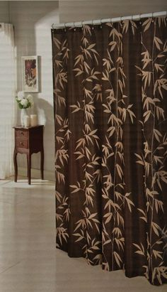 Chocolate Brown Faux Silk Fabric Shower Curtain With Taupe Flocked Velvet Bamboo - Shower Curtains