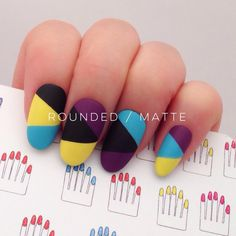 Mixed Tricolore Hand Painted Nail Tips / Press On / Stick On - Oval - Glossy or Matte by 31313 on Etsy