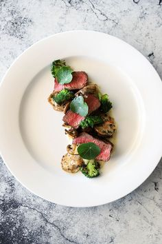 Beef Fillet, Exotic Mushrooms, White Onion Puree and Charred Broccoli #beef #mushrooms #plating