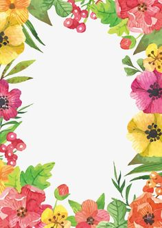 Watercolor Flowers vector,Vector Flowers,Flores frontera,Watercolor Flowers,Flores decorativas Frame