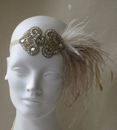 Antique Gold And Champagne Deco Flapper Feather Headband