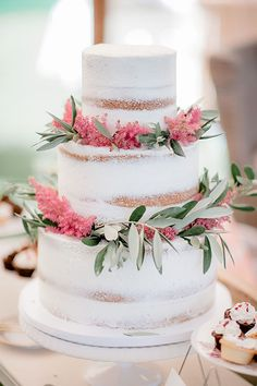 Outdoor South Carolina Wedding Inspired by Nature, Naked Wedding Cake Decorated with Flowers