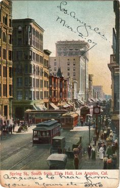 Spring St., South from Elk's Hall, Los Angeles, Cal.