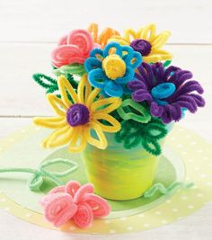DIY Chenille Flower Pot Arrangement | Pipe Cleaner Crafts | DIY Mother's Day Gifts | Faux Flower Arrangements | Home Decor