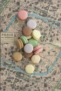 A sweet pastel scene with #macarons and #Paris paper with an old map of the city. Love this Paris paper pattern on journals and stationary, too! Städtereise Paris, Paris Map, I Love Paris, Paris Travel, Paris Style, Travel Maps, Travel Posters, Anna And The French Kiss, Tour Eiffel