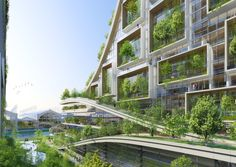 Designed by Vincent Callebaut Architectures. Vincent Callebaut Architectures has released plans for the development of a radical eco-neighborhood at Tour & Taxis, Brussels, Belgium. Architecture Durable, Pavilion Architecture, Green Architecture, Concept Architecture, Futuristic Architecture, Sustainable Architecture, Beautiful Architecture, Sustainable Design, Chinese Architecture