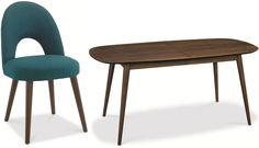Bentley Designs Oslo Walnut Dining Set - 6-8 Extending Table with Teal Fabric Chairs