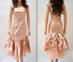 Metallic 80s Prom Dress Pink Size XS Small by Zum by Hookedonhoney