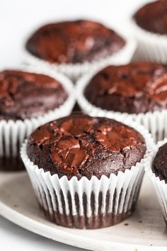 Healthy chocolate muffins - Lazy Cat Kitchen - Healthy chocolate muffins are based on a vegetable, oil-free, refined sugar-free, vegan and can als - Healthy Chocolate Muffins, Healthy Muffins, Vegetarian Chocolate, Vegan Chocolate, Vegan Muffins, White Chocolate, Chocolate Cake, Vegetarian Meal, Raw Sweet Potato