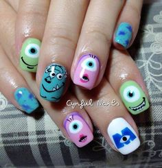 Image uploaded by Rosina Todd. Find images and videos about cute, nails and nail art on We Heart It - the app to get lost in what you love. Disney Nail Designs, Girls Nail Designs, Nail Art Designs Videos, Cute Nail Designs, Disney Inspired Nails, Disney Nails, Monster Inc Nails, Sun Nails, French Acrylic Nails