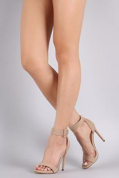 This lovely heel features an open toe silhouette, wrapped stiletto heel, lightly padded insole, and adjustable ankle strap with buckle fastening. Material: Nubuck (man-made) Sole: Synthetic Measuremen Vans Cap, Halter Bodysuit, Beautiful High Heels, Faux Leather Belts, Short Mini Dress, Hats For Women, Women Hat, Summer Outfits Women, Summer Hats